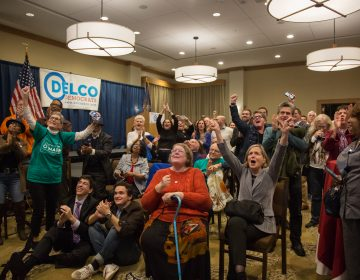 Hundreds of supporters came out to support various Pennsylvania Democratic candidates at the official watch party for Mary Gay Scanlon in Swarthmore, Pa on November 6th 2018. (Emily Cohen for WHYY)