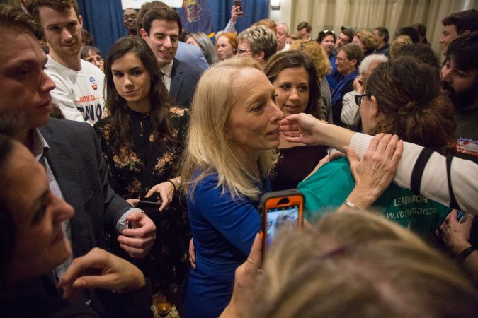 Mary Gay Scanlon greets supporters after her victory in Pennsylvania's 5th congressional district on November 6, 2018. (Emily Cohen for WHYY)
