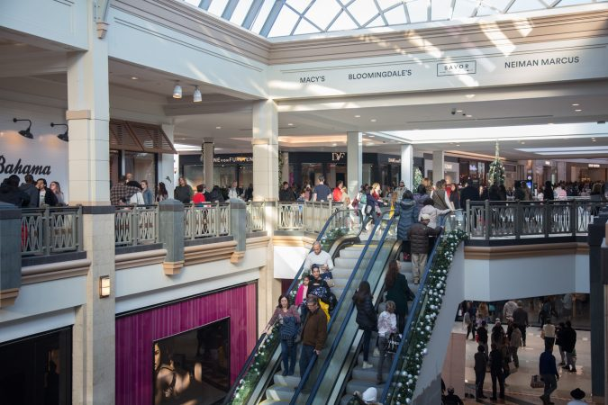 Shoppers pass through the crowds on Black Friday at the King of Prussia Mall in Pennsylvania November 23rd 2018. (Emily Cohen for WHYY)