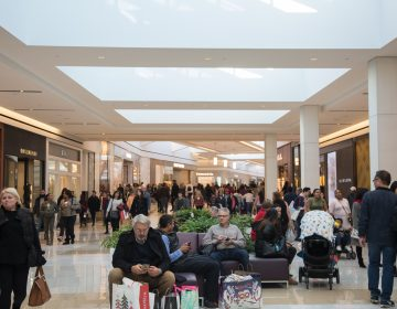 Shoppers pass through the new indoor luxury thoroughfare that now connects both buildings of the King of Prussia Mall on  Black Friday in Pennsylvania November 23rd 2018. (Emily Cohen for WHYY)