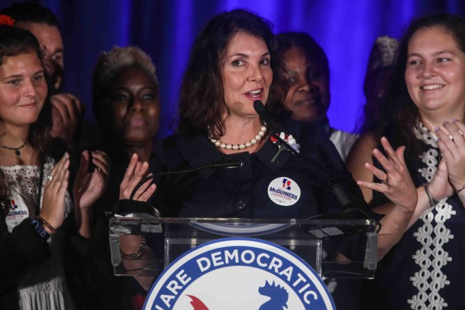 State Auditor elect Kathleen McGuiness addresses supporters during Democrat watch party Tuesday, Nov. 06, 2018, at the Doubletree Hotel in Wilmington, Delaware. (Saquan Stimpson for WHYY)