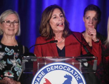 Attorney General-elect Kathleen Jennings addresses supporters during Tuesday, Nov. 06, 2018, at the Doubletree Hotel in Wilmington, Delaware. (Saquan Stimpson for WHYY)