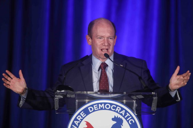 Senator Chris Coons speaks during Democrat watch party Tuesday, Nov. 06, 2018, at the Doubletree Hotel in Wilmington, Delaware. (Saquan Stimpson for WHYY)