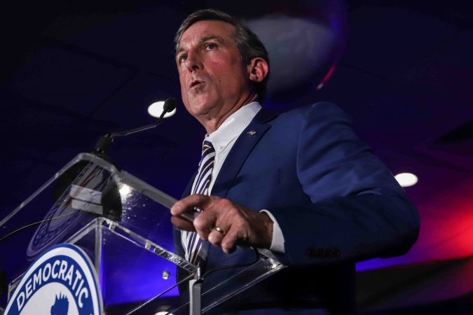 Governor of Delaware John Carney addresses supporters during Democrat watch party Tuesday, Nov. 06, 2018, at the Doubletree Hotel in Wilmington, Delaware. (Saquan Stimpson for WHYY)