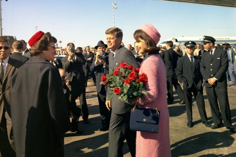President John F. Kennedy and First Lady Jacqueline Kennedy arrive at Love Field, Dallas, Texas, on Nov. 22, 1963.