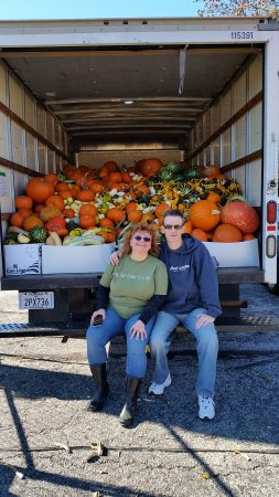 In 2016, Steve Levy and Lucia Kubik collected more than 800 pumpkins for the animal sanctuary. (Courtesy of Steve Levy)