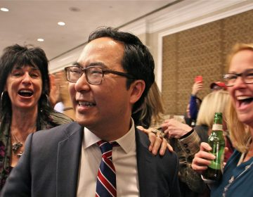 New Jersey 3rd Congressional candidate Andy Kim mingles with supporters at the Westin in Mount Laurel while waiting for results on election night. Kim's race against incumbent Tom MacArthur was too close to call