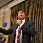 New Jersey 3rd Congressional candidate Andy Kim speaks to supporters at the Westin in Mount Laurel while waiting for results on election night. (Emma Lee/WHYY)