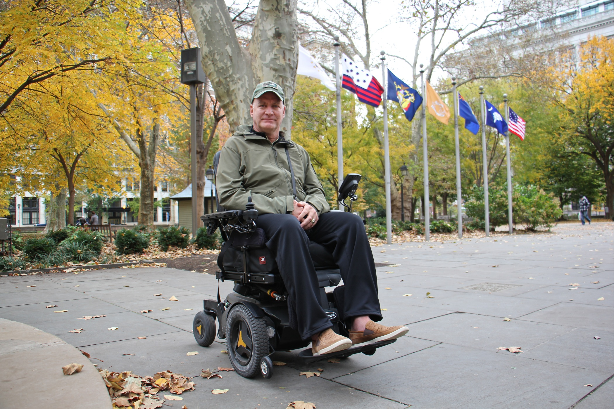 Chuck Schretzman visits the monument to unknown soldiers of the Revolutionary War in Washington Square, across the street from his home. The 26-year Army veteran was diagnosed with ALS three years ago.