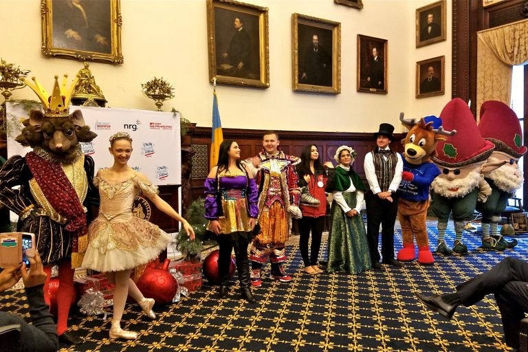 Philadelphia announces its holiday programming during an event in the Mayor's Reception Room at City Hall. (Peter Crimmins/WHYY)