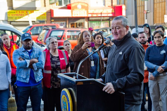 Philadelphia Mayor Jim Kenney describes the city's efforts to clean up Kensington Thursday morning. (Kimberly Paynter/WHYY)
