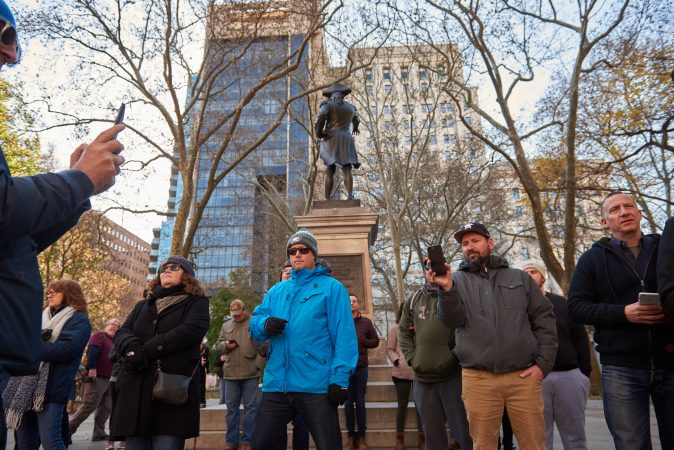 People from Philadelphia and beyond gathered to hear the bell ring at Independence National Historical Park in Philadelphia, Pa. on the centennial anniversary of Armistice Day. (Natalie Piserchio for WHYY)