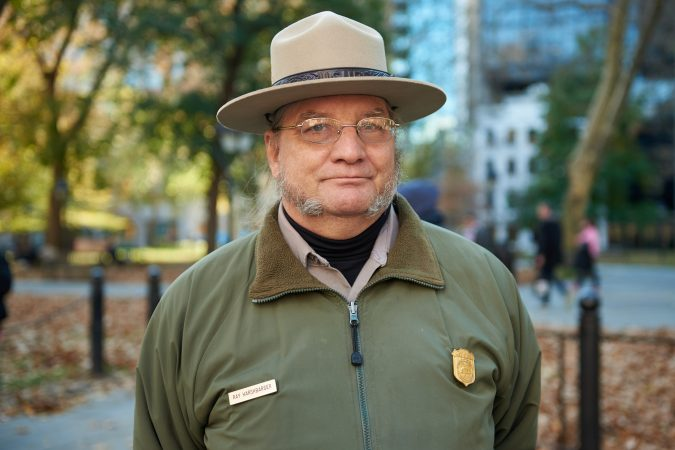 Ray Harshbarger, a park ranger at Independence Mall and a Marine Corps veteran, stands in Independence Mall on the centennial anniversary of Armistice Day and reflected on American unity.
