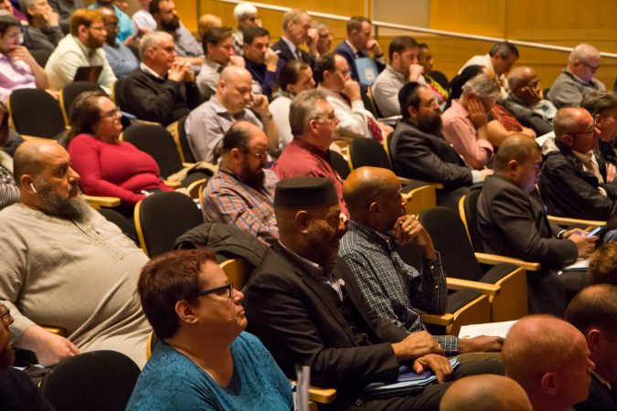 The Anti-Defamation League, U.S. Attorney's Office for the Eastern District of Pennsylvania and the Delaware Valley Intelligence Center hosted an informational event on making religious institutions and communities more secure at the National Constitution Center in Philadelphia. (Kimberly Paynter/WHYY)