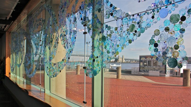 Large new windows open the Seaport Museum to the Delaware River. (Emma Lee/WHYY)