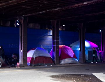 The city of Philadelphia is once again clearing out camps of people in Kensington like the one at Frankford and Lehigh Avenues. (Kimberly Paynter/WHYY)