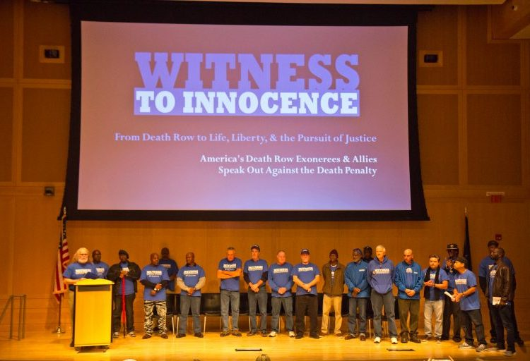 At the National Constitution Center in Philadelphia Thursday, the national anti-death penalty organization Witness to Innocence calls for Pennsylvania to abolish the death penalty. (Kimberly Paynter/WHYY)