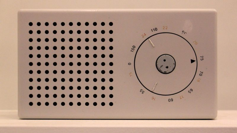 Apple designer Jonathan Ive's design for the iPod echoes the geometeric logic of Dieter Rams's TP 1 radio (shown), designed in 1958. (Emma Lee/WHYY)