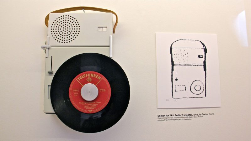Apple designer Jonathan Ive's design for the iPod echoes the geometeric logic of Dieter Rams's T3 radio. (Emma Lee/WHYY)