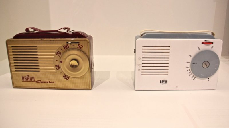 Two radios illustrate the impact of the Ulm School on Braun's products. The first (left) was designed in 1954 by Braun AG, and the other in 1956 by Dieter Rams and the Ulm School of Design. (Emma Lee/WHYY)