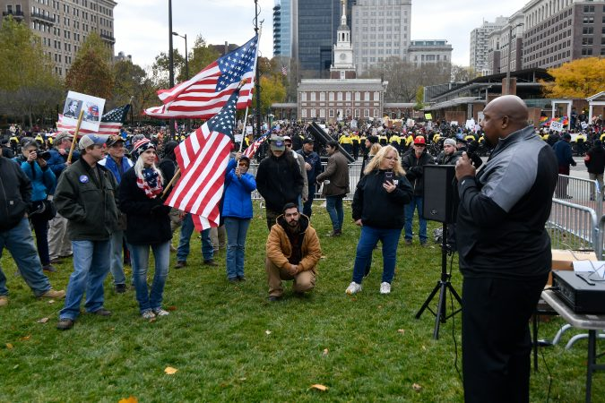 hundreds of protesters dwarf conservatives at philly s we the