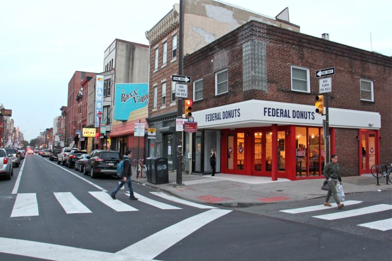 A new Federal Donuts recently opened on South Street at Sixth Street. (Emma Lee/WHYY)