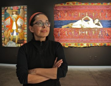 Peruvian artist Kukulio Velarde is exhibiting her paintings at Taller Puertorriqueño in North Philadelphia.