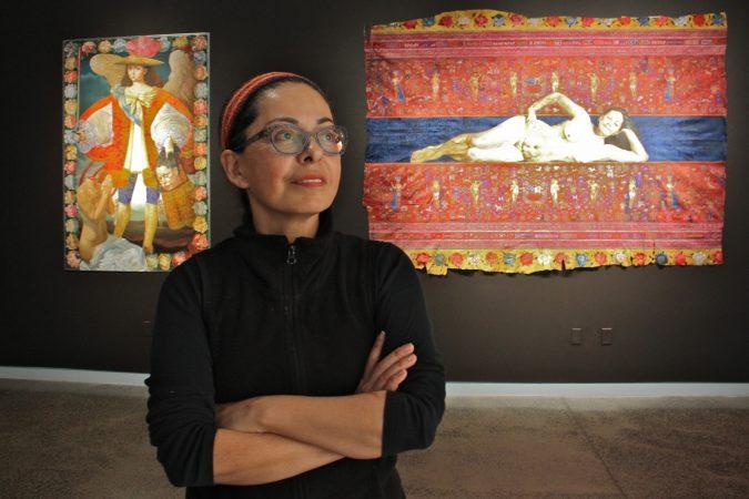 Peruvian artist Kukulio Velarde is exhibiting her paintings at Taller Puertorriqueño in North Philadelphia.
