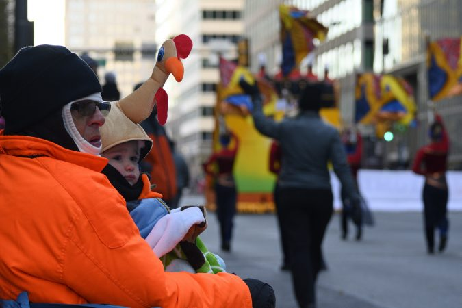 Low temperatures caused a smaller than usual turnout during the 99th annual Thanksgiving Day Parade, in Center City Philadelphia. (Bastiaan Slabbers for WHYY)