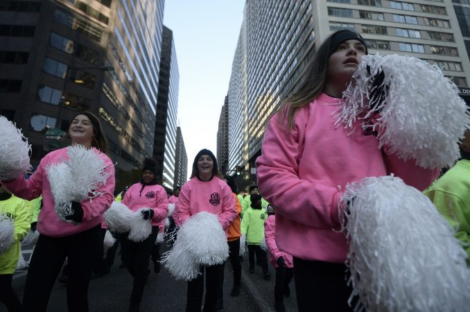 Children participate in the 99th annual Thanksgiving Day Parade in Center City Philadelphia. (Bastiaan Slabbers for WHYY)