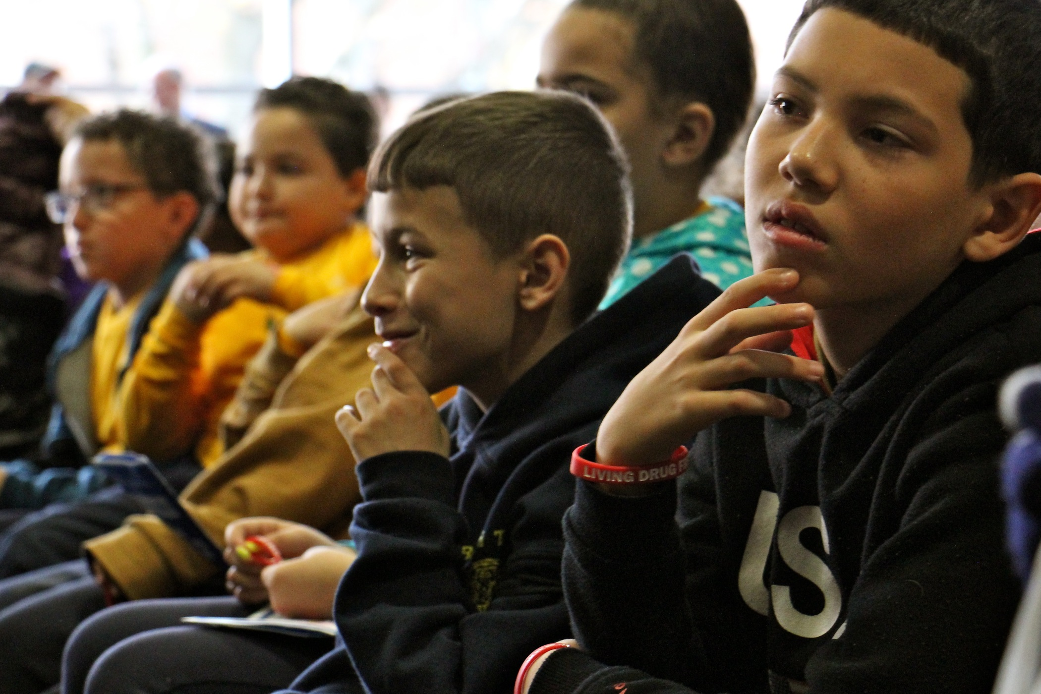 Philadelphia school children attend a youth summit on drug prevention at Temple University.