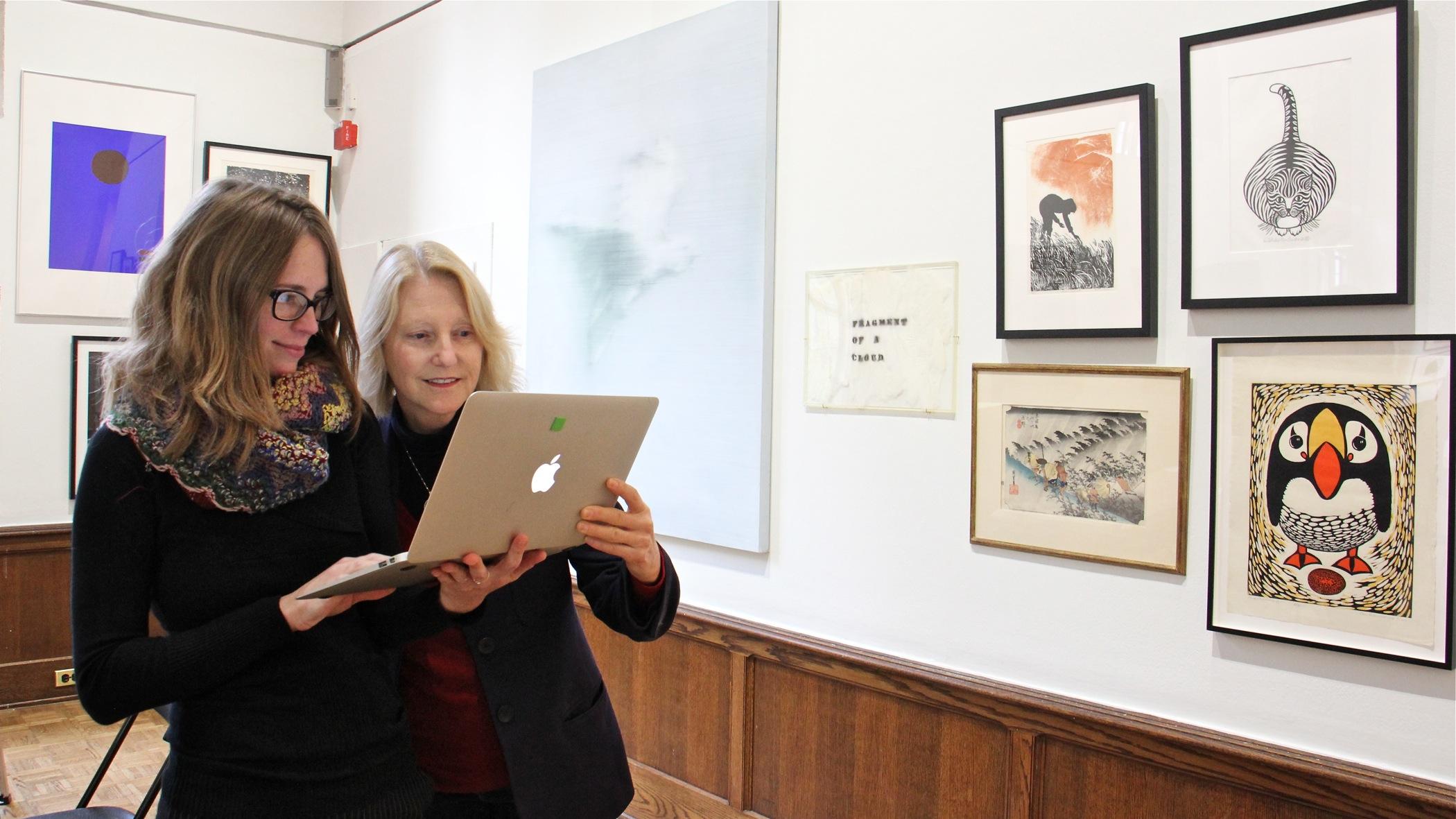 Associate Curator Heather Moqtaderi (left) confers with Lynn Marsden-Atlass, executive director of the Arthur Ross Gallery at the University of Pennsylvania.