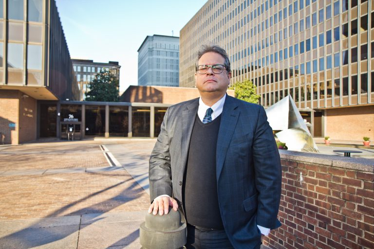 Ken Smukler outside the federal courthouse in Philadelphia. (Kimberly Paynter/WHYY, file)
