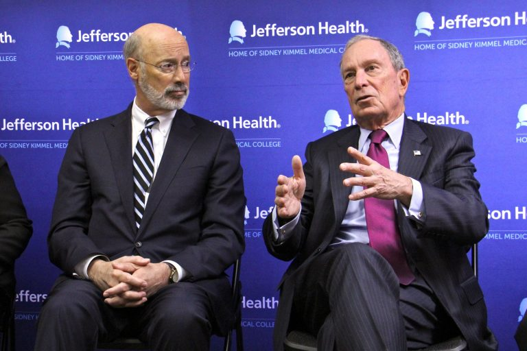 Former New York City Mayor Michael Bloomberg (right) talks about his $10 million donation to help Pennsylvania combat the opioid crisis during a visit to Thomas Jefferson Maternal Addiction Treatment clinic. He is accompanies by Gov. Tom Wolf.