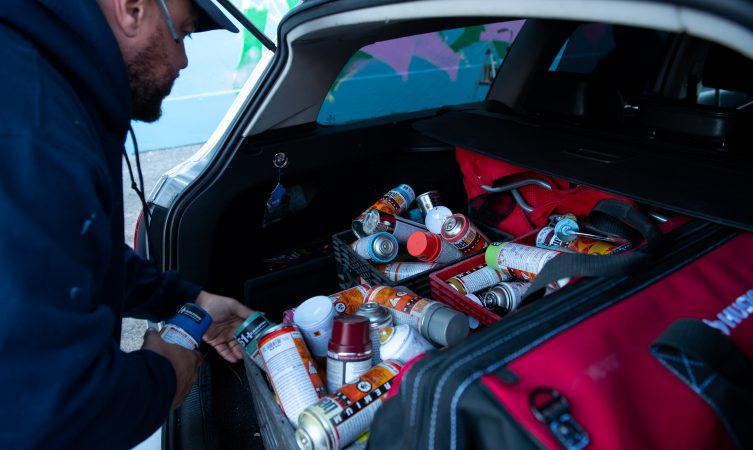 Spray paint used for a mural dedicated to Philadelphia