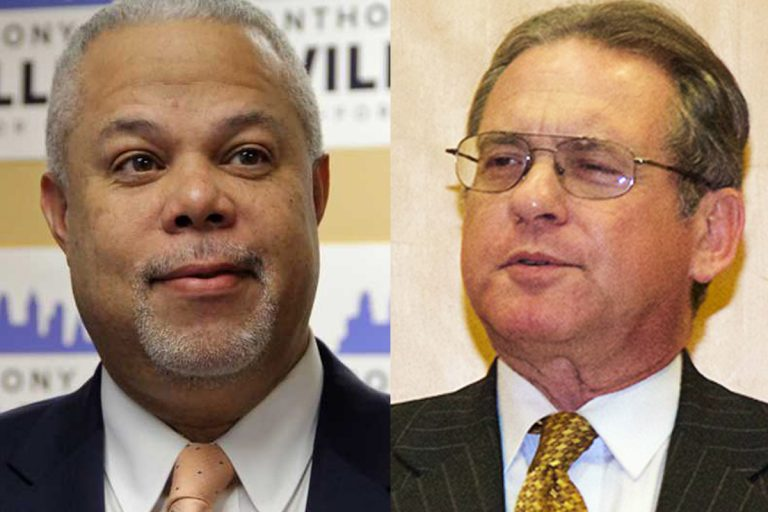 Pennsylvania state Sen. Anthony Hardy Williams (left) and former City Controller Alan Butkovitz are considering primary challenges to Philadelphia Mayor Jim Kenney next year. (Emma Lee/WHYY and Jana Shea for WHYY)