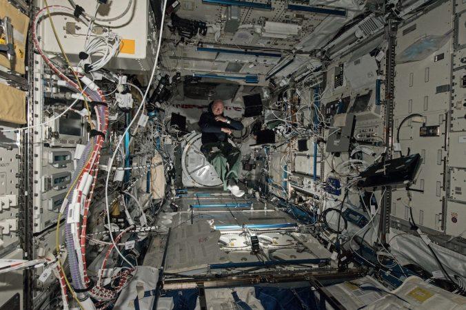 Scott Kelly floating in the Japanese experimentation module (courtesy of NASA)