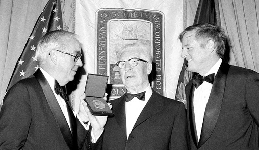 The Pennsylvania Society gala is a longstanding tradition. Here, onetime Society president Edward Gerrity Jr. presents the organization's medal to Pittsburgh Steelers founder and president Arthur Rooney Jr. in 1975, during the Society's 77th annual dinner at New York's Waldorf Astoria Hotel, Dec. 13, 1975. At right is William F. Buckley Jr., editor of the National Review, who was guest speaker. (Ray Stubblebine/AP Photo)