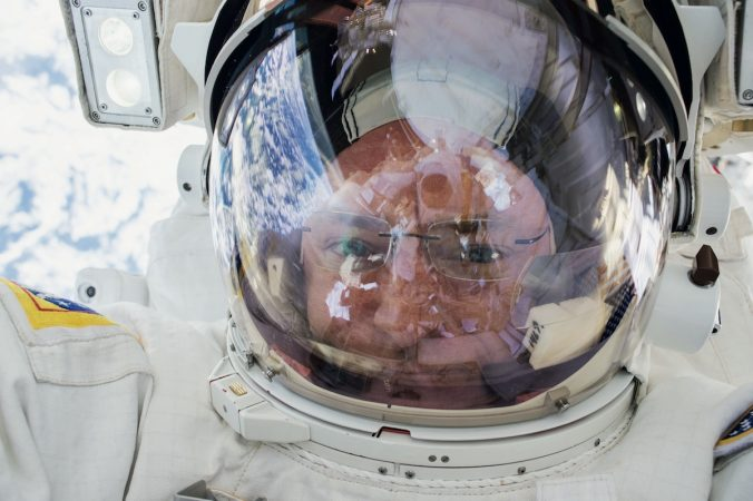 Kelly in the International Space Station (courtesy of NASA)