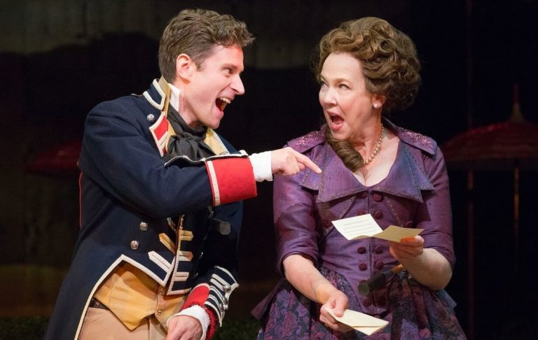 Kevin Massey as Captain Jack and Harriet Harris as Mrs. Malaprop in Bristol Riverside Theatre's production of