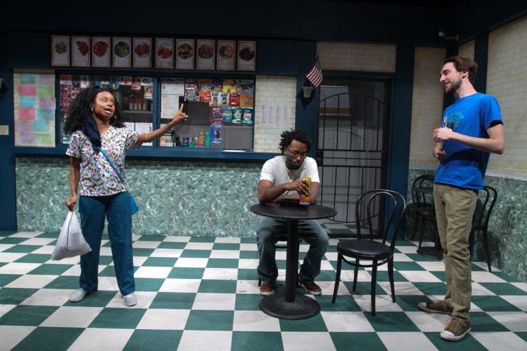 Kendra Holloway (left), Richard Bradford and Justin Pietropaolo in InterAct Theatre Company's production of