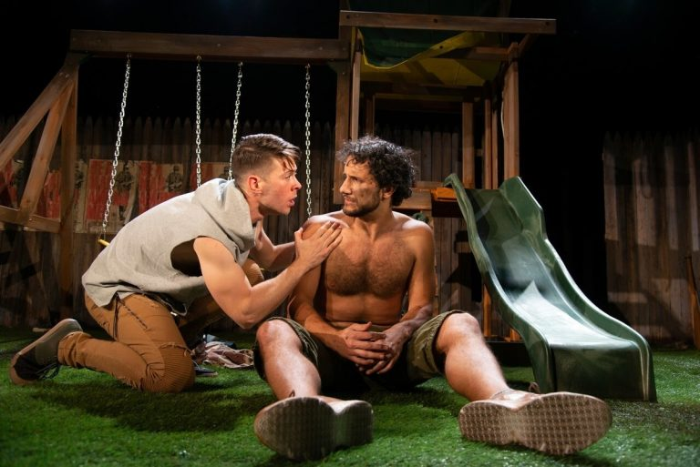 James  Kern  (left) and  Jeff  Gorcyca  in  Azuka  Theatre's  production  of  warplay. (Johanna Austin/austinart.org )