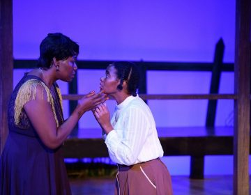 Ebony Pullum as Shug Avery and Jessica M. Johnson as Celie in Theatre Horizon's production of