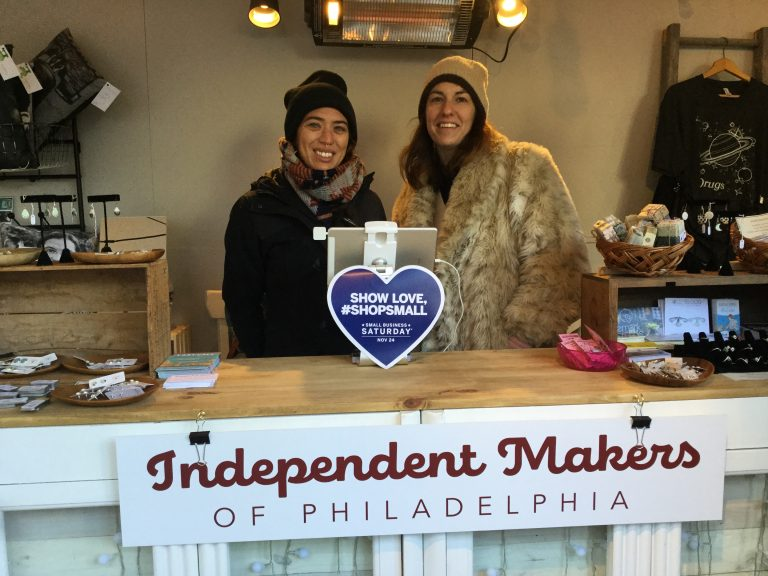 Morgan Jamison and Alexis Sellers with Independent Makers of Philadelphia. (Kyrie Greenberg/WHYY News)