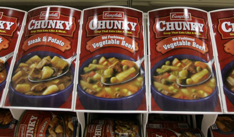 Cans of Campbell's soup are displayed in a supermarket in Homestead, Pa., in this Nov. 2006 file photo. (Gene J. Puskar/AP Photo)