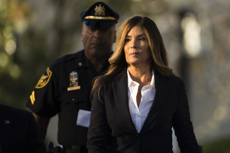 Former Pennsylvania Attorney General Kathleen Kane arrives at Montgomery County courthouse for her sentencing hearing in Norristown, Pa., in October 2016. (Matt Rourke/AP Photo)
