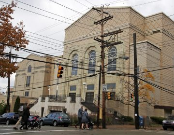 Families arrive for Shabbat morning services at Beth Shalom Synagogue in the Squirrel Hill neighborhood of Pittsburgh, on Saturday, Nov. 3, 2018. (AP Photo/Gene J. Puskar)