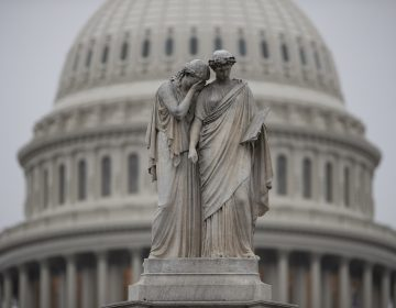 The Capitol Dome looms behind the Peace Monument statue on a rainy Election Day in Washington, Tuesday, Nov. 6, 2018.  (AP Photo/J. Scott Applewhite)