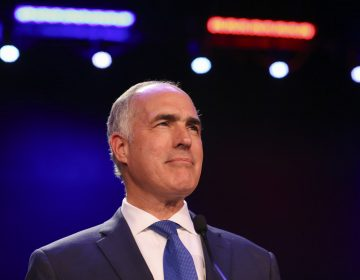 U.S. Sen. Bob Casey, D-Pa., gives a victory speech during his election night party in Scranton, Pa., on Tuesday, Nov. 6, 2018. (Jake Danna Stevens/The Times-Tribune via AP)