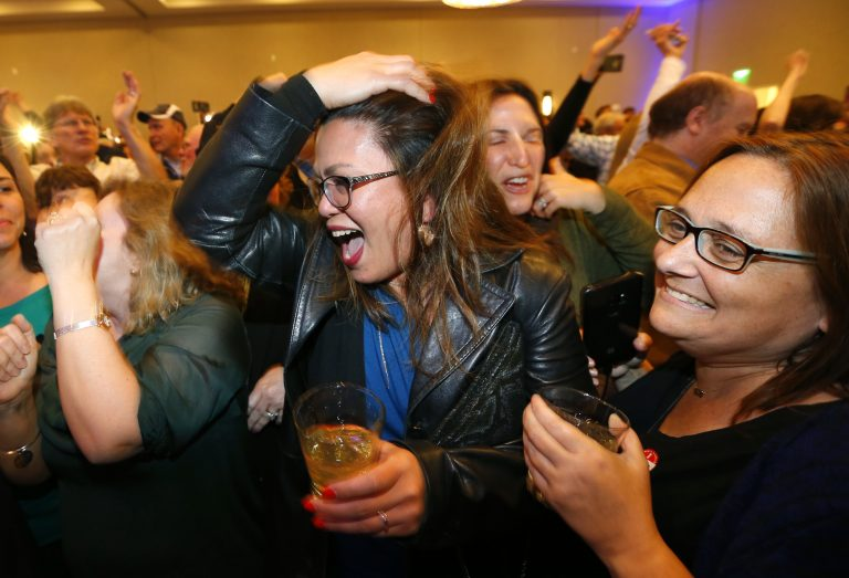 Supporters cheer for Tom Malinowski, during his election night party Tuesday, Nov. 6, 2018, in Berkeley Heights, N.J. (Noah K. Murray/AP Photo)